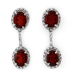 8.10 CTW Garnet & Diamond Earrings 14K White Gold - REF-46W2H - 10021