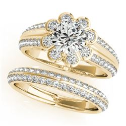 1.21 CTW Certified VS/SI Diamond 2Pc Wedding Set Solitaire Halo 14K Yellow Gold - REF-150T9X - 31285