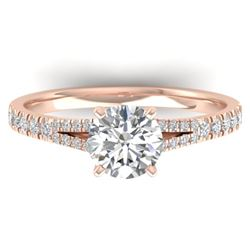 1.36 CTW Certified VS/SI Diamond Solitaire Art Deco Ring 14K Rose Gold - REF-353F3M - 30376