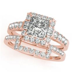 2.02 CTW Certified VS/SI Princess Diamond 2Pc Set Solitaire Halo 14K Rose Gold - REF-463H3W - 31395