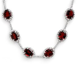 41.0 CTW Garnet & Diamond Necklace 10K White Gold - REF-194N5Y - 10813