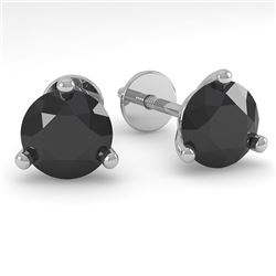 1.0 CTW Black Certified Diamond Stud Earrings Martini 14K White Gold - REF-31R3K - 38311
