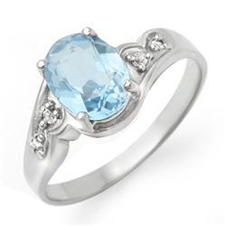 1.26 CTW Blue Topaz & Diamond Ring 18K White Gold - REF-31N8Y - 12353