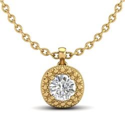 1.1 CTW VS/SI Diamond Solitaire Art Deco Stud Necklace 18K Yellow Gold - REF-218Y2N - 37123