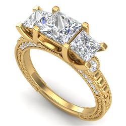 2.66 CTW Princess VS/SI Diamond Art Deco 3 Stone Ring 18K Yellow Gold - REF-581H8W - 37159
