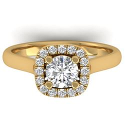 1.01 CTW Certified VS/SI Diamond Solitaire Halo Ring 14K Yellow Gold - REF-182X9T - 30419