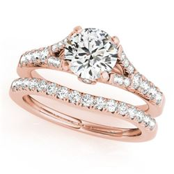 1.31 CTW Certified VS/SI Diamond Solitaire 2Pc Wedding Set 14K Rose Gold - REF-139F8M - 31746