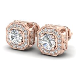 2.75 CTW VS/SI Diamond Solitaire Art Deco Stud Earrings 18K Rose Gold - REF-472T8X - 37323