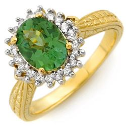 2.75 CTW Green Tourmaline & Diamond Ring 10K Yellow Gold - REF-52Y4N - 10985