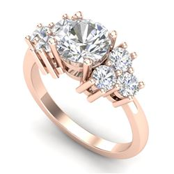 2.1 CTW VS/SI Diamond Solitaire Ring 18K Rose Gold - REF-563X6T - 36942