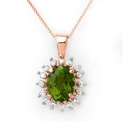 3.55 CTW Green Tourmaline & Diamond Necklace 14K Rose Gold - REF-72F8M - 10796