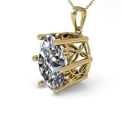 1 CTW VS/SI Oval Diamond Solitaire Necklace 18K Yellow Gold - REF-279N2Y - 35866
