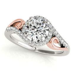 1 CTW Certified VS/SI Diamond Solitaire Halo Ring 18K White & Rose Gold - REF-195F3M - 26855