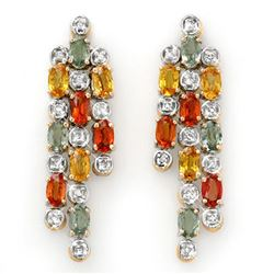 4.08 CTW Multi-Sapphire & Diamond Earrings 14K Yellow Gold - REF-95K3R - 14333