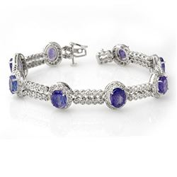 21.25 CTW Tanzanite & Diamond Bracelet 18K White Gold - REF-578X4T - 11746