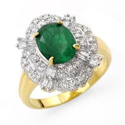3.31 CTW Emerald & Diamond Ring 14K Yellow Gold - REF-81R8K - 13078