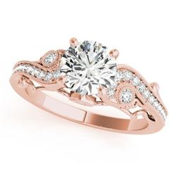 1.5 CTW Certified VS/SI Diamond Solitaire Antique Ring 18K Rose Gold - REF-488H5W - 27415
