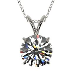 1.55 CTW Certified H-SI/I Quality Diamond Solitaire Necklace 10K White Gold - REF-324H2W - 36796