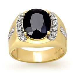 6.58 CTW Blue Sapphire & Diamond Mens Ring 10K Yellow Gold - REF-73X5T - 13470