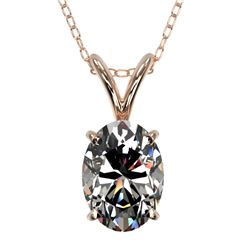 1 CTW Certified VS/SI Quality Oval Diamond Solitaire Necklace 10K Rose Gold - REF-267F8M - 33193