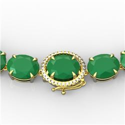 170 CTW Emerald & VS/SI Diamond Solitaire Necklace 14K Yellow Gold - REF-993K8R - 22295