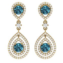 3.94 CTW Royalty Fancy Blue, SI Diamond Earrings 18K Yellow Gold - REF-336T4X - 39116