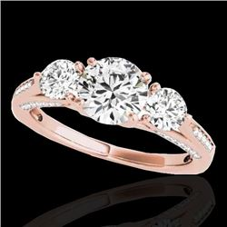 1.75 CTW H-SI/I Certified Diamond 3 Stone Ring 10K Rose Gold - REF-236K4R - 35350
