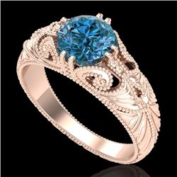 1 CTW Intense Blue Diamond Solitaire Engagement Art Deco Ring 18K Rose Gold - REF-190M9F - 37531