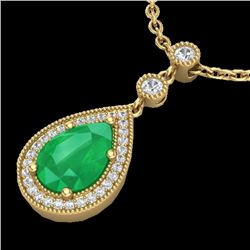 2.75 CTW Emerald & Micro Pave VS/SI Diamond Certified Necklace 18K Yellow Gold - REF-52M8F - 23134
