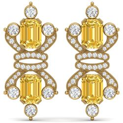 25.35 CTW Royalty Canary Citrine & VS Diamond Earrings 18K Yellow Gold - REF-490Y9N - 38774