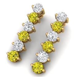 6 CTW Certified Si/I Fancy Yellow & White Diamond Earrings 18K Yellow Gold - REF-572T8X - 40217