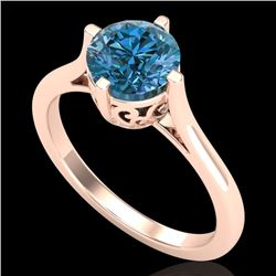 1.25 CTW Fancy Intense Blue Diamond Solitaire Art Deco Ring 18K Rose Gold - REF-218F2M - 38063