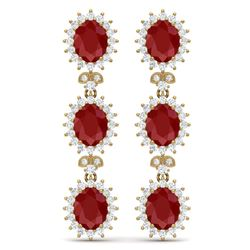 24.52 CTW Royalty Designer Ruby & VS Diamond Earrings 18K Yellow Gold - REF-436Y4N - 38642