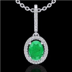 2 CTW Emerald & Micro Pave VS/SI Diamond Necklace Solitaire Halo 18K White Gold - REF-70H9W - 20658
