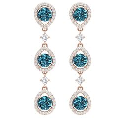 5.28 CTW Royalty Fancy Blue, SI Diamond Earrings 18K Rose Gold - REF-427T3X - 39100