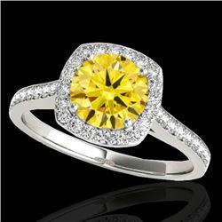1.4 CTW Certified Si Fancy Intense Yellow Diamond Solitaire Halo Ring 10K White Gold - REF-166Y4N -