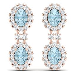 8.8 CTW Royalty Sky Topaz & VS Diamond Earrings 18K Rose Gold - REF-180K2R - 38821