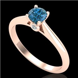 0.40 CTW Intense Blue Diamond Solitaire Engagement Art Deco Ring 18K Rose Gold - REF-80X2T - 38182