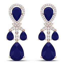38.29 CTW Royalty Sapphire & VS Diamond Earrings 18K Rose Gold - REF-418K2R - 38611