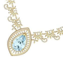 68.1 CTW Royalty Sky Topaz & VS Diamond Necklace 18K Yellow Gold - REF-1327N3Y - 39785