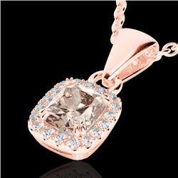 1.25 CTW Morganite & Micro Pave VS/SI Diamond Certified Halo Necklace 10K Rose Gold - REF-36M4F - 22
