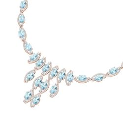 68.12 CTW Royalty Sky Topaz & VS Diamond Necklace 18K Rose Gold - REF-945H5W - 39007