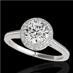 1.55 CTW H-SI/I Certified Diamond Solitaire Halo Ring 10K White Gold - REF-180F2M - 33526