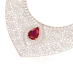 63.93 CTW Royalty Ruby & VS Diamond Necklace 18K Rose Gold - REF-2690F9M - 39574