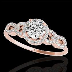 1.33 CTW H-SI/I Certified Diamond Solitaire Ring 10K Rose Gold - REF-161M8F - 35314