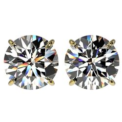 4 CTW Certified G-Si Quality Diamond Solitaire Stud Earrings 10K Yellow Gold - REF-940H9W - 33133