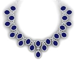 81 CTW Royalty Sapphire & VS Diamond Necklace 18K White Gold - REF-1563R6K - 38625