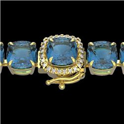 35 CTW London Blue Topaz & Micro VS/SI Diamond Halo Bracelet 14K Yellow Gold - REF-152R2K - 23332