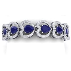 32.15 CTW Royalty Sapphire & VS Diamond Bracelet 18K White Gold - REF-672R8K - 38691