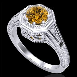 0.84 CTW Intense Fancy Yellow Diamond Engagement Art Deco Ring 18K White Gold - REF-161K8R - 37931